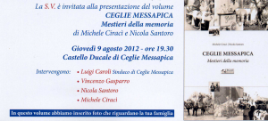 Invito alla presentazione del libro: Ceglie Messapica: mestieri della memoria